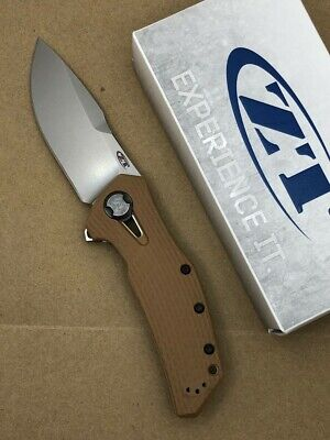 Zero Tolerance ZT 0308 Flipper Knife 20CV Stonewashed Blade Coyote Tan Handles
