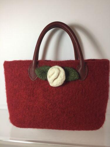 Red Wool Felted Handbag NWT!  Mint!