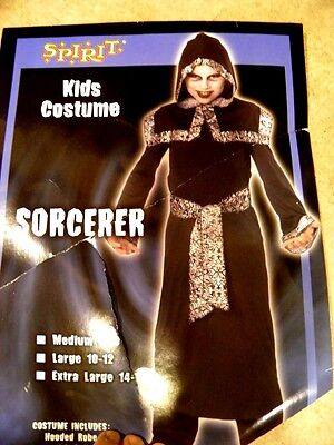 BOYS XL 14/16 SORCERER GRIM REAPER COSTUME WIZARD SKULL BLACK ROBE HOOD GOTH  - Peasant Boy Costume
