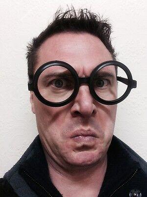 Groß Rund Schwarz Geek Wally Brillen Nerd Gesprenkelt - Große Runde Brille Kostüm