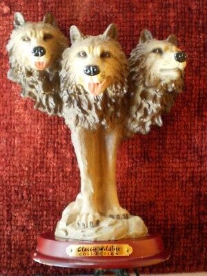 Three Headed Wolf Figurine by Classic Wildlife Collection GREAT GIFT (Three Headed Wolf)