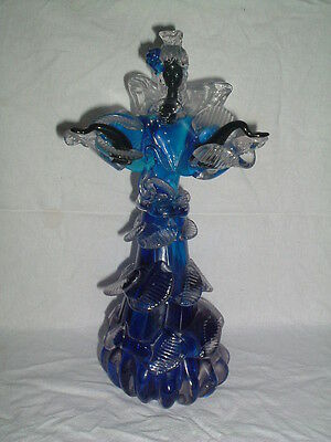 VINTAGE MURANO VENETIAN GLASS BLACK & BLUE LADY