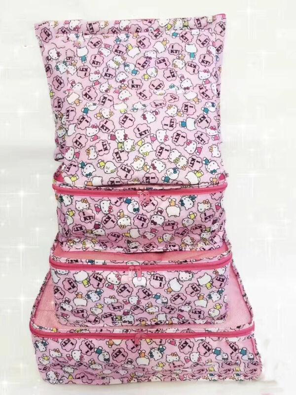6Pcs Pink Hello Kitty Travel Luggage Organizer Cloth Underwear Bra Storage Bags