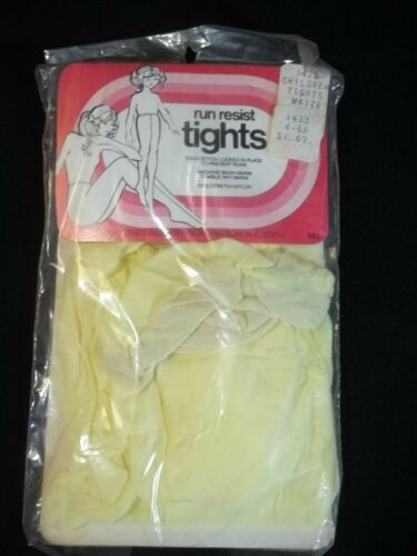 Vintage Childrens Tights Yellow 4 to 6X Run Resisant Jefferies Hosiery