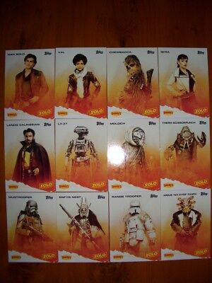 STAR WARS TOPPS SOLO USA EXCLUSIVE DENNYS SUPER RARE CARD SET. MINT CONDITION