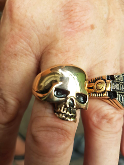 Harley and skull rings solid 9ct gold