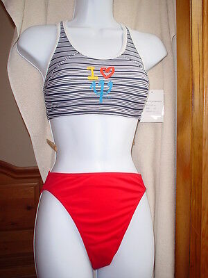 Club Med Tanki Bikini Red White Navy Size Xlarge Nwt