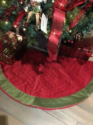 NEW Pottery Barn Red w/ Green Trim Velvet Quilted Christmas Tree Skirt No Mono