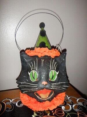 BETHANY LOWE BLACK CAT HEAD PAPER CARDBOARD HEAD HALLOWEEN PAIL LANTERN