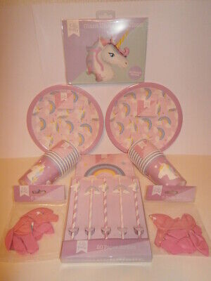 Unicorn & Rainbows Let's Party Partyware - Plates, Cups, Napkins and - Rainbow Cups And Plates