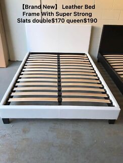Brand new Leather bed frame base with super strong slats Q$190