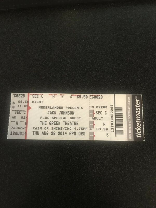 Jack Johnson Greek Theatre Concert Ticket 8/28/2014
