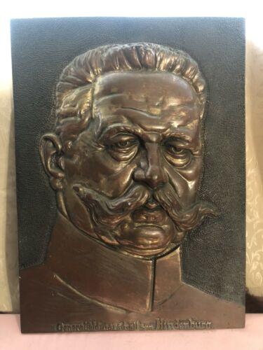 VON HINDENBURG GENERAL FELD MARSHALL BRONZE PLAQUE VINTAGE GERMANY WWI