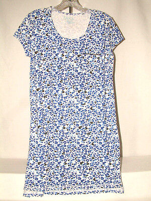 #3041 SHORT SLEEVE NIGHT SHIRT FROM COOL GIRL, SIZE SMALL, HI-LO HEM, COOL BLUE Girls Short Sleeved Nightshirt