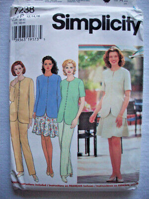 6 panel Gore skirt top pants suit  pattern 7238 size 12 14 16