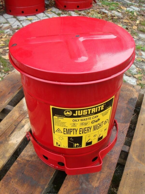 """JUSTRITE 6 GAL OILY WASTE CAN, 16"""" x 12"""" Heavy Duty Foot Operated Pedal, 09100"""
