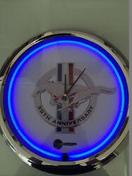 35th Anniversary Ford Mustang Neon Clock in Blue Cobra F150 F250 Shelby SVT SVO