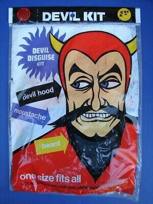 RARE Vintage Ben Cooper DEVIL Disguise Kit NOS Sealed Package HOOD BEARD