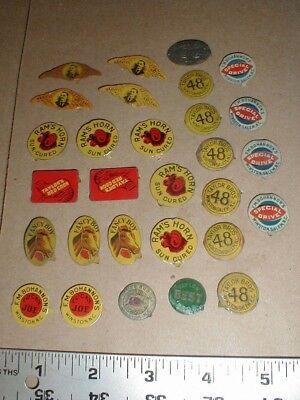 29 vintage original metal Tobacco tin tags lot Winston Salem NC Taylor red coon