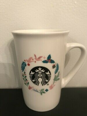 Starbucks ceramic 10oz mug Christmas wreath mistletoe holly Pink White birds