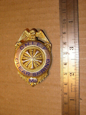 Obsolete Vintage Fire Chief Badge CLEAR SPRING MD Maryland in Gold Color