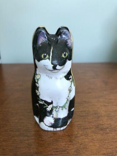 "2 1/2"" Cat W/ Mouse Tin Dana Kubrick Hunkydory Design Made In England 1986"