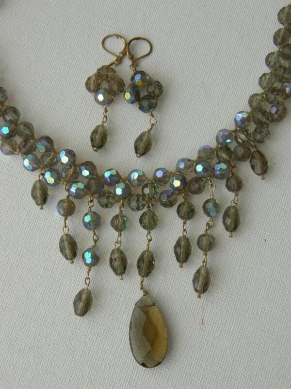 Smoky Topaz & Blue Aurora Borealis Glass Dangle Fringe Bib Necklace Earrings Set