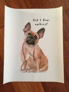 print picture canvas art dog lovers 25cm x 20.5cm