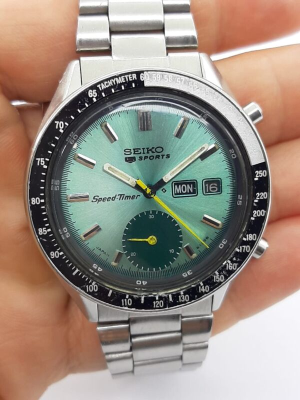 SEIKO 5 SPORTS WATCH 6139-6040 SPEED-TIMER AUTOMATIC DAY DATE MENS 40mm SERVICED