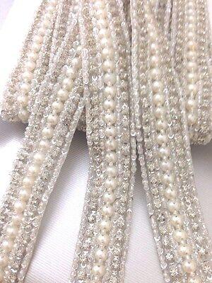 1Yard Ivory Pearl Beaded Daimonte Bridal Wedding  Applique Trim Edging Costume