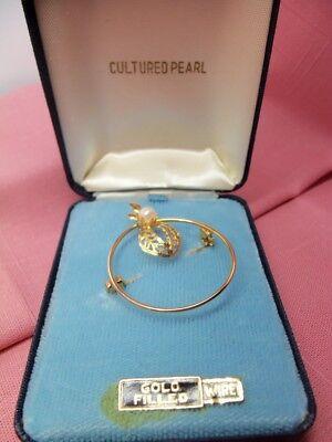 Vintage Genuine Cultured Pearl Gold Filled Wreath Pin Brooch Original Box-Estate Cultured Pearl Gold Brooch