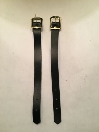 """(2) New 7"""" x 1/2"""" Replacement Leather 3-Hole Bag Tag Straps"""
