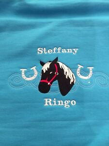 Personalised embroidered horse pony hoodie horseshoes, change the horse colours