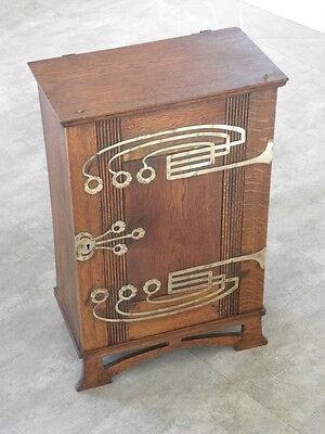 antique Art Nouveau CUPBOARD Wall Cabinet OAK brass Storage Arts and Crafts old Brass Antique Storage Cabinet