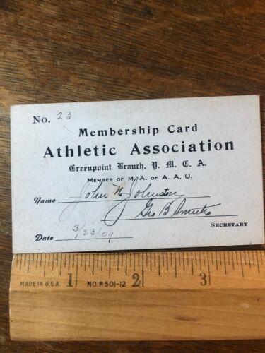 Brooklyn New York YMCA Young Mens Christian Association 1909 Membership Card