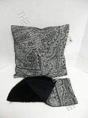 Pottery Barn Jacquard Paisley Velvet Sofa Pillow Cover 18x18 Black Wool
