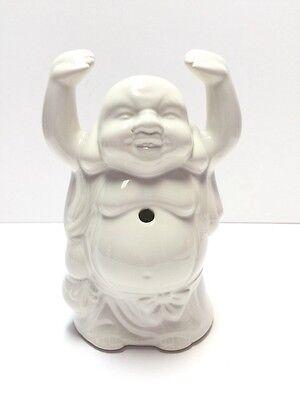 White Ceramic Zen Buddha Incense Burner, Incense Holder