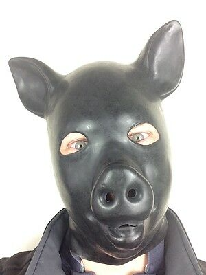 Latex-Gummi Schwarz Gummi Fetisch Schweinemaske Ganzkopf Haube Schweinchen Tier