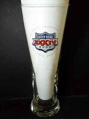 """Miller Lite Beer pilsner NFL Super Bowl 2000 Atlanta Georgia 8"""" 14 oz"""