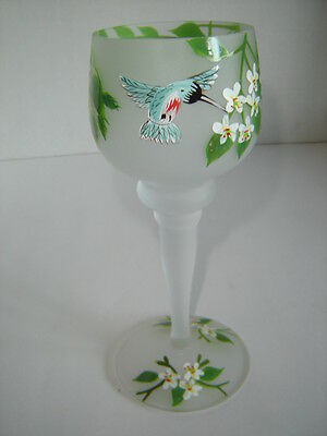 FROSTED GLASS CANDLE HOLDER HAND PAINTED HUMMING BIRDS AND FLOWERS VOTIVE HOLDER
