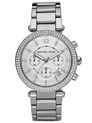Michael Kors MK5353 Parker Silver Tone Chronograph Wrist Watch Free Shipping