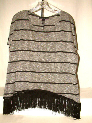 """#4194 FRINGED SHORT SLEEVE BLOUSE FROM FRENCH LAUNDRY, SZ XL**, 52"""" BUST, NWT"""