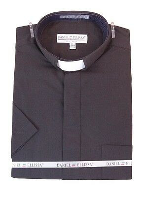 Mens Clergy Tab Collar Short Sleeve Black Dress Shirt Pastor Preacher Minister