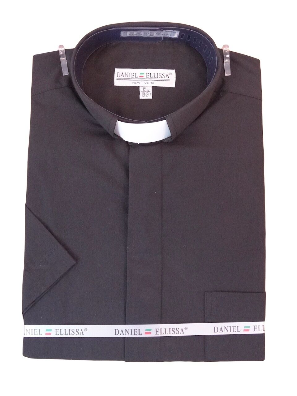 Men's Clergy Tab Collar Short Sleeve Black Dress Shirt Pa...