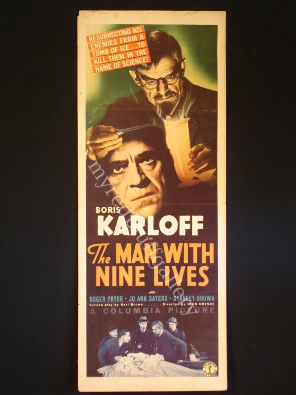 The Man with Nine Lives Boris Karloff Columbia Pictures 1940 Insert Poster