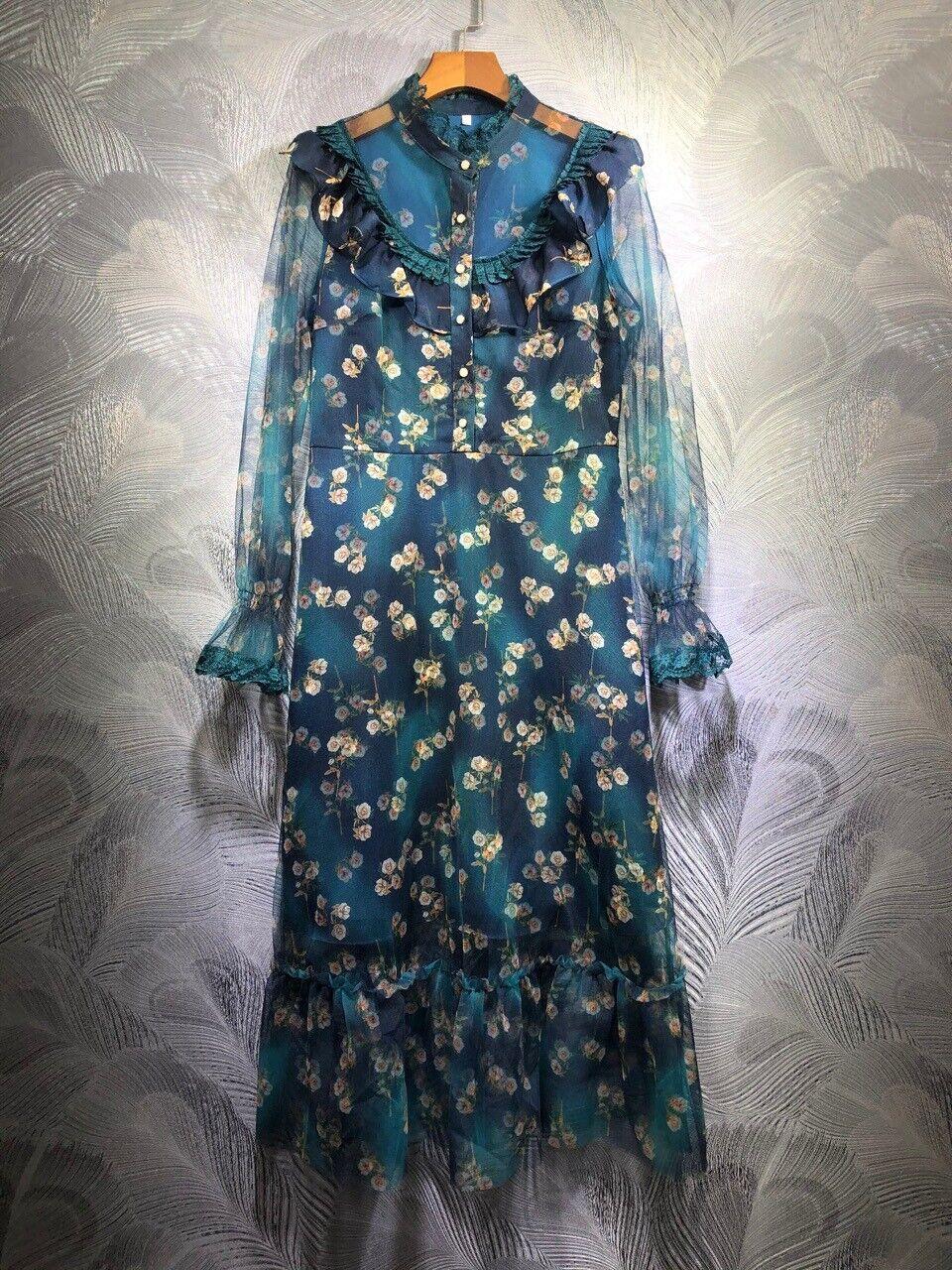 2020 Damen Designer Inspiriert Luxus Spitze Ruschen Netz Geblumt Lang Kleid Blau Ebay