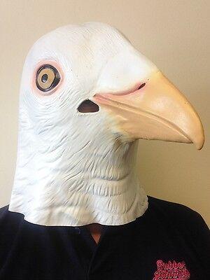 Weiß Taube Maske mit Kapuze Latex Tier Vogel Kostüm Junggesellen (Taube Kostüm)