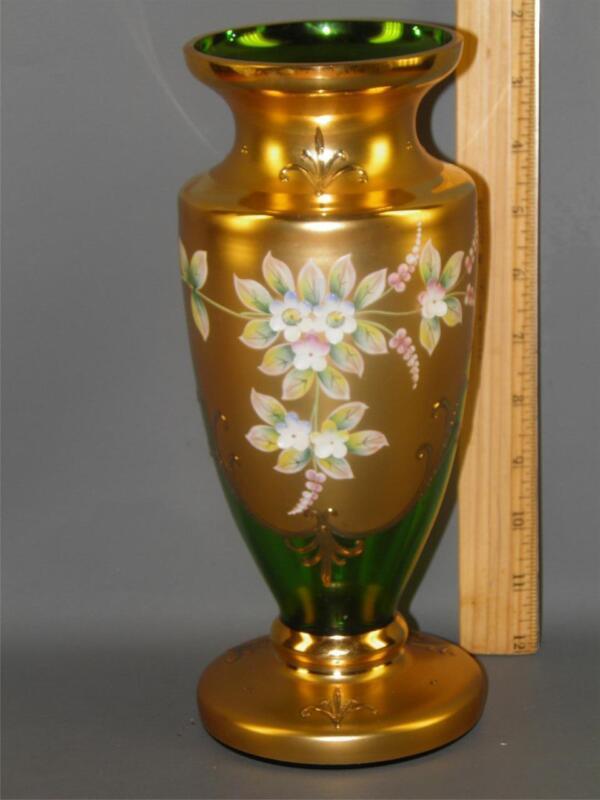 CZECH BOHEMIAN EGERMANN GOLD HIGH ENAMEL GREEN CRYSTAL ART GLASS VASE