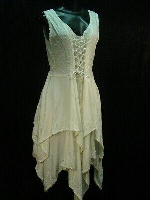 Cotton Chemise lace and emboidery hippy boho bohemian wedding dress size L/XL