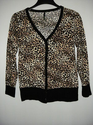 Cotton Animal Print V-neck Cardigan - Women's LOVE CULTURE Animal Print Multi Color V-Neck Button Down Cardigan Size ?
